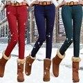 2017 de Inverno calças de Brim Quentes Para As Mulheres Meados Cintura Doce Cor de Lã Grossa Calça Jeans Com Veludo Plus Size