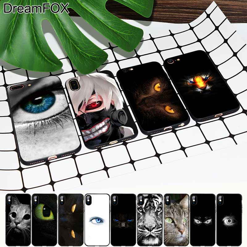 DREAMFOX M391 Beautiful Eyes Black Soft TPU Silicone  Case Cover For Apple iPhone XR XS Max X 8 7 6 6S Plus 5 5S 5G SE