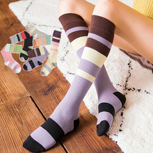 Net red socks women lavender purple pink green stripes in against color knees piled thin calf female tide