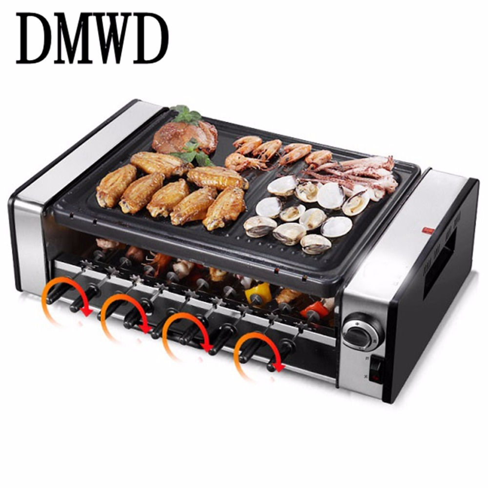 DMWD Household electric oven smoke-free non stick electric baking pan grill skewers household machine barbecue grill jiqi electric baking pan double side heating household cake machine flapjack pizza barbecue frying grilling plate large1200w