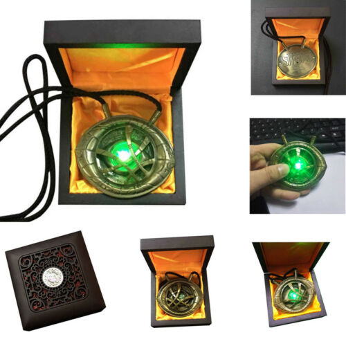 Doctor Strange Eye of Agamotto Cosplay Necklace Pendant Alloy LED Light Necklaces Jewelry Accessory Gift-in Pendant Necklaces from Jewelry & Accessories