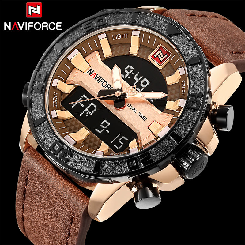 Watches Men NAVIFORCE Brand Men Sport Watches Men's Military Leather Dual Time Waterproof LED Quartz Date Clock Man Wrist watch shiweibao cool watch men sport watch men golden big case four time zones military watches date leather strap mens quartz watches