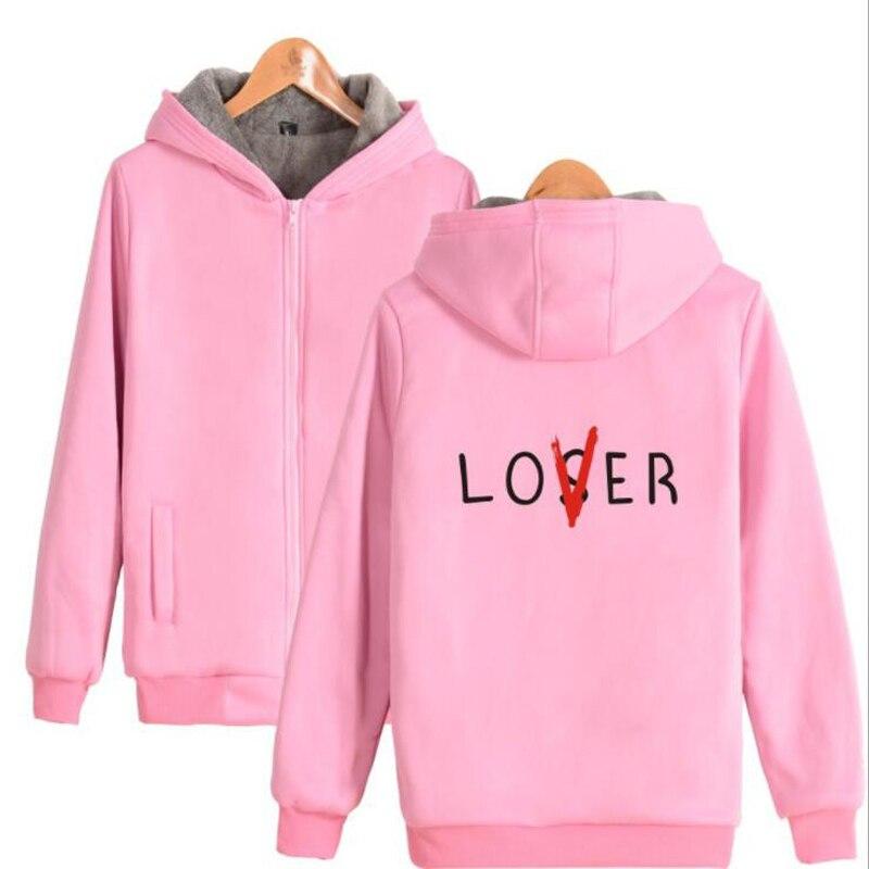 Pennywise это Loser Club розовый балахон Для женщин Для мужчин любовника или Loser печатных Утепленная куртка из толстого флиса на молнии Верхняя одежд...