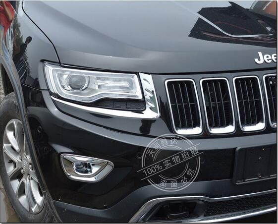 Abs Chrome Headlights Lamp Frame Trim Cover Exterior Mouding Car Accessories For Jeep Grand