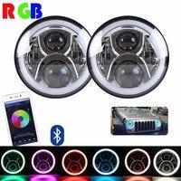 2PCS 7inch Headlamp Full Function RGB Halo Angel Eyes LED Headlight Kits For Jeep JK Chrome