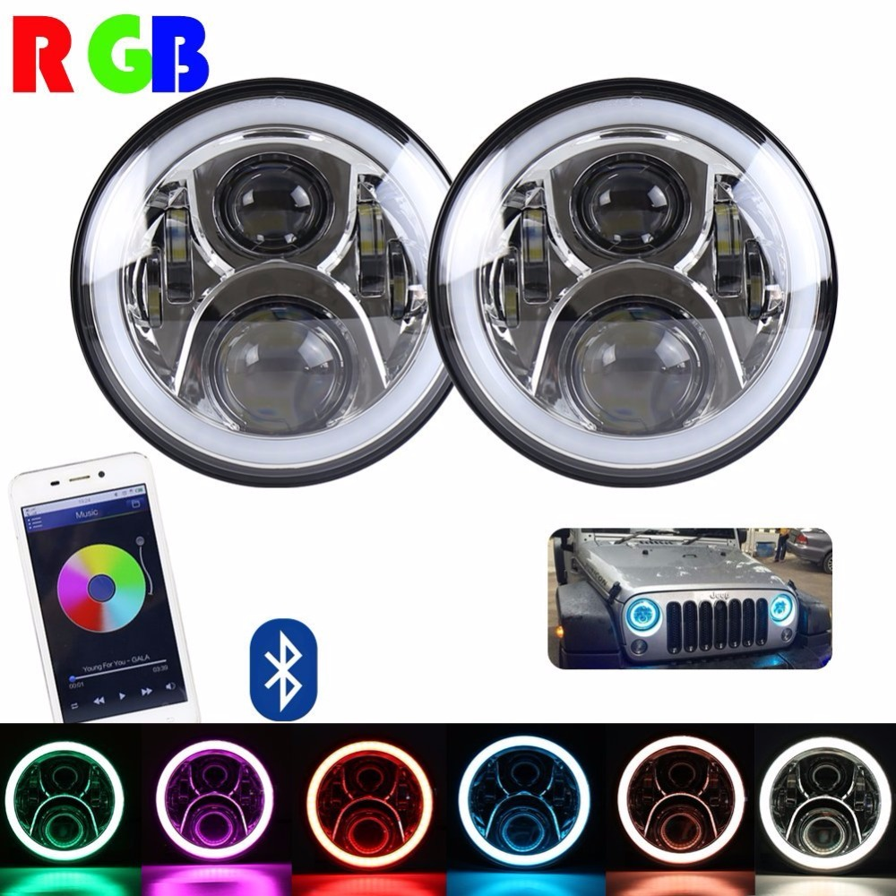 2PCS 7inch Headlamp Full Function RGB Halo Angel Eyes LED Headlight Kits for Jeep JK Chrome and Black 2pcs purple blue red green led demon eyes for bixenon projector lens hella5 q5 2 5inch and 3 0inch headlight angel devil demon