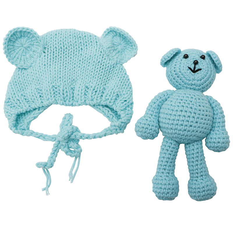 Top Quality Newborn Baby Bear Hat Photography Props Crochet Beanie Photography Accessories
