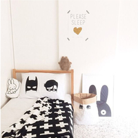 Knitted Baby Blanket Black White Bedding Quilt Rabbit Cross Maillot Child Bath Towel Play Mat Set