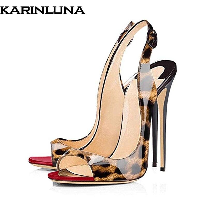 Karinluna 2019 plus size 45 brand design elegant summer party Shoes Woman sexy thin high heels peep toe women pumps sandalsKarinluna 2019 plus size 45 brand design elegant summer party Shoes Woman sexy thin high heels peep toe women pumps sandals