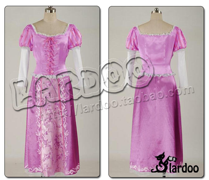 Custom Cheap Rapunzel Princess Dress Cosplay Costume From Tangled for Christmas Party Halloween Clothing
