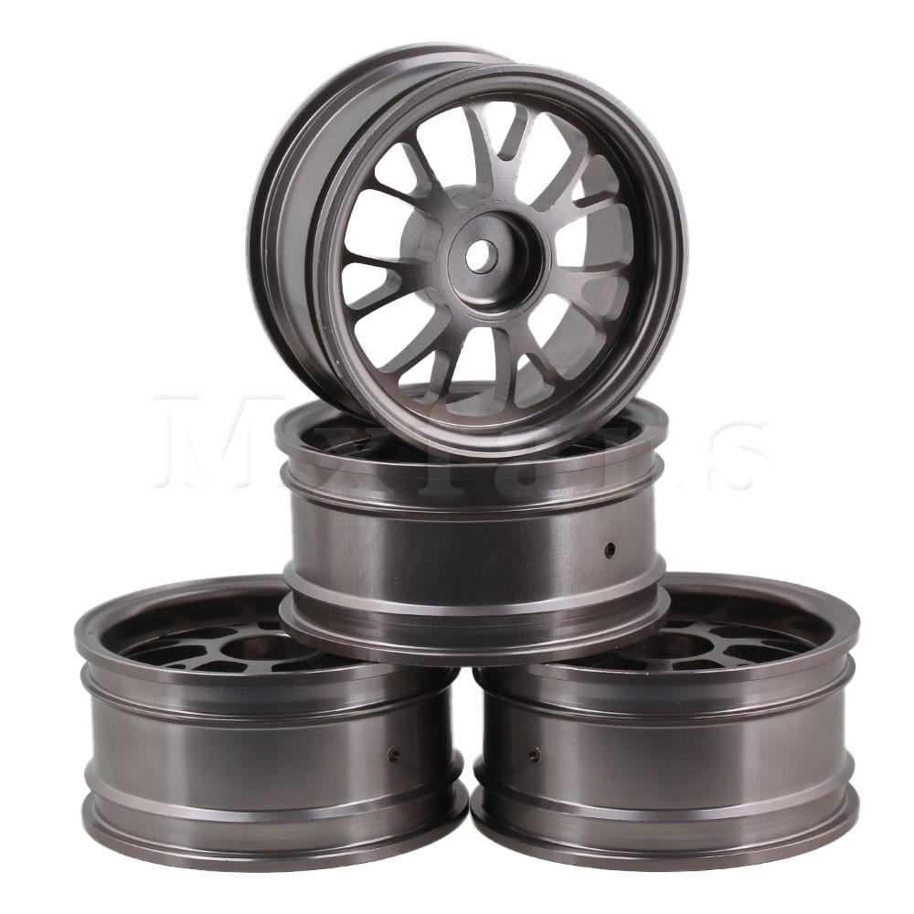 Mxfans Titanium Upgrade Aluminum Alloy Wheel Rims Y-Shape Fit for RC1:10 On-Road Racing Car & Drift Car Pack of 4 mxfans 4 pcs aluminum alloy wheel felloe rc 1 10 on road rimmer black wheel rims