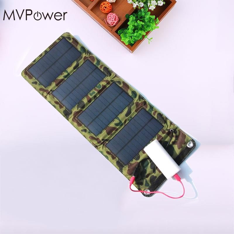 MVpower 5V 7W Solar Panel Bank PVC Waterproof Folding Solar Power Panel External Charger Power Panel For Smart Phone