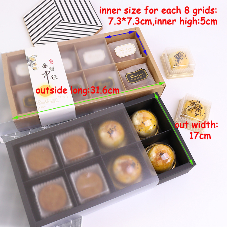 10 set Clear Plastic Bakery Pastry Boxes Food packing Kraft Paper Cupcake Cookie Cake Bo ...