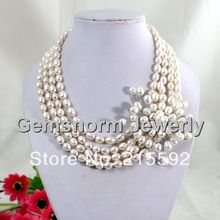Graceful 4 Rows Freshwater Pearls Necklace with Pearls Flower Pendant Wedding Jewelry Free Shipping FP013