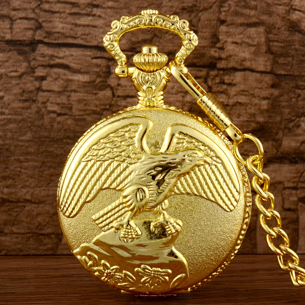 Mens pocket watches with chain images mens gold pocket watches gifts - Antique Gold Eagle Animal Theme Pocket Watch Quartz Vintage Necklace Pendant Men Women Jewelry High Quality