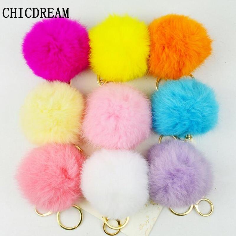 Real Photo Cheaper 8CM Genuine Rabbit Fur Ball Pompons Keychain Gift Gold-color Keyrings Pom Pom Key Chain For Keys Bag Pendant