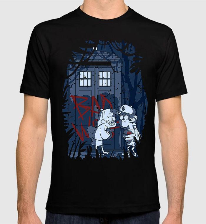 Gravity Falls Doctor Who Combo Mens T-Shirt Mabel Pines Tardis Tee Brand Clothing Hip-Hop Top