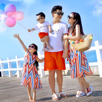 Summer 2019 Family Matching Clothes New Couple's Beach Holiday Mother and Daughter Dresses Father and Son T Shirt Shorts Set