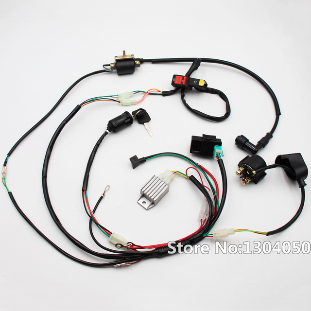 full wiring loom harness kick start engine 50 70 90 110 125cc atv rh aliexpress com motorcycle wiring looms uk motorcycle wiring loom connectors