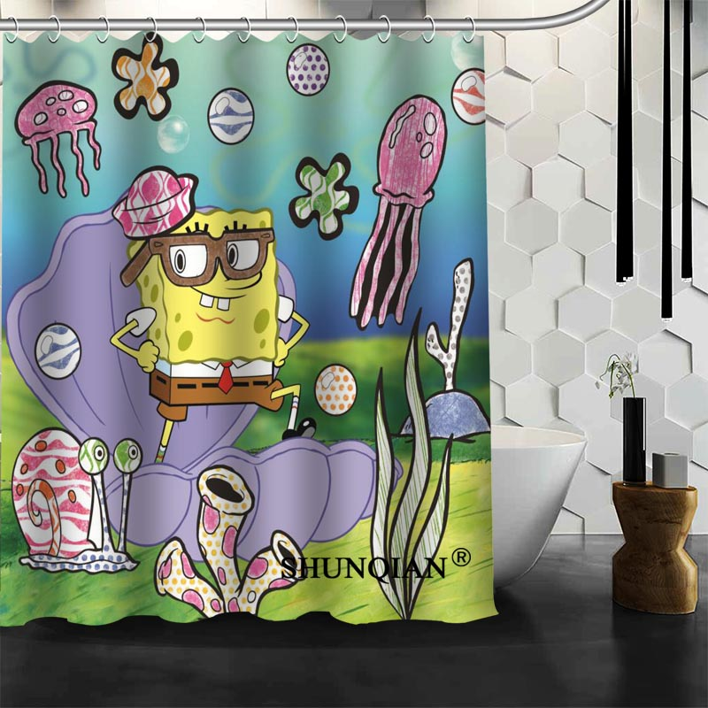 Waterproof Bathroom Curtains Spongebob Shower Curtain polyester Bath ...