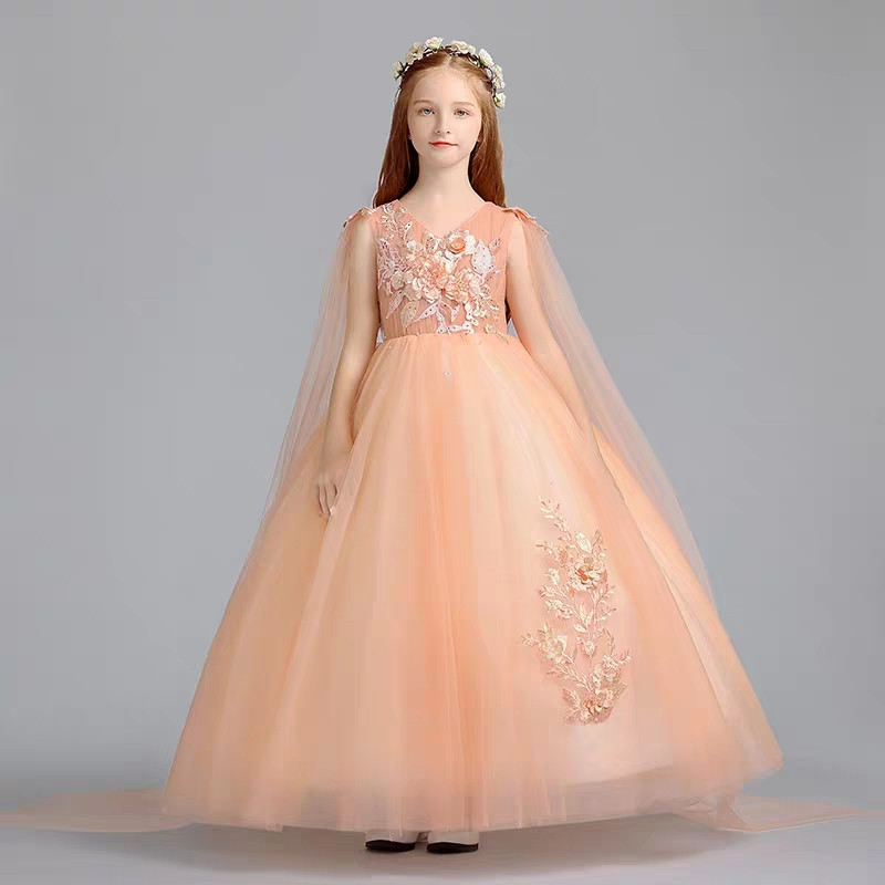 32fe312d6 2019 Girls Children Luxury Embroidery Flowers Birthday Wedding Party  Princess Dress Host Piano Costumes Model Catwalk Prom Dress