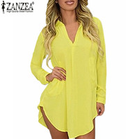 US 4 24W 2016 ZANZEA Spring Summer Women Chiffon Long Sleeve Dress V Neck Boyfriend Shirt