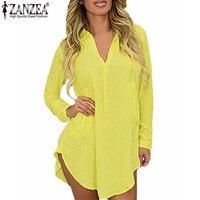 US 4 24W 2016 ZANZEA Spring Summer Women Chiffon Long Sleeve Dress V Neck Boyfriend Shirt