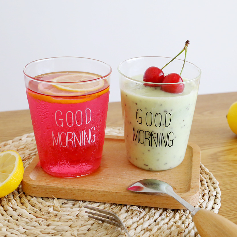 2pcs/set Japanese Glass Personality Milk Cups Breakfast Cup Creative Glass GOOD MORNING Coffee Cup Drinks Juice Cups