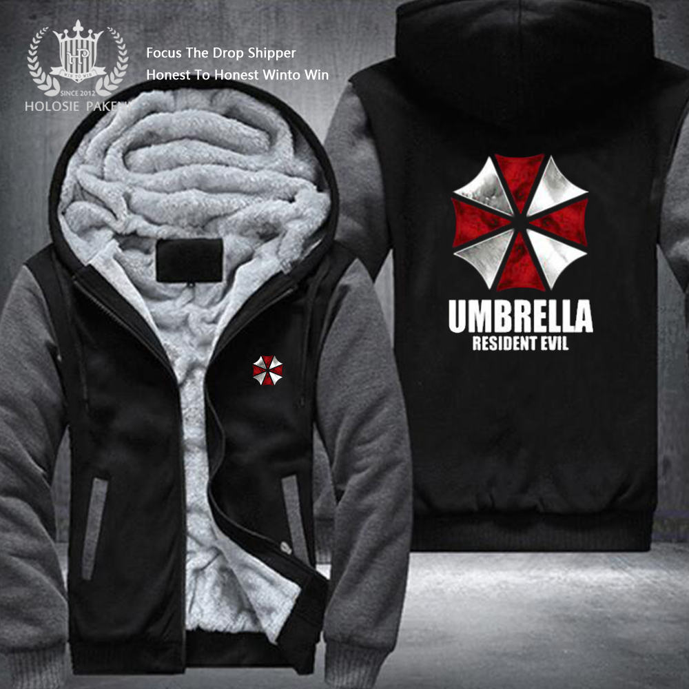 Dropshipping USA Size Wonen Men The Umbrella Resident Evil Men Zipper Sweatshirt Jacket Fleece Thicken Custom Jacket Coat Hoodie