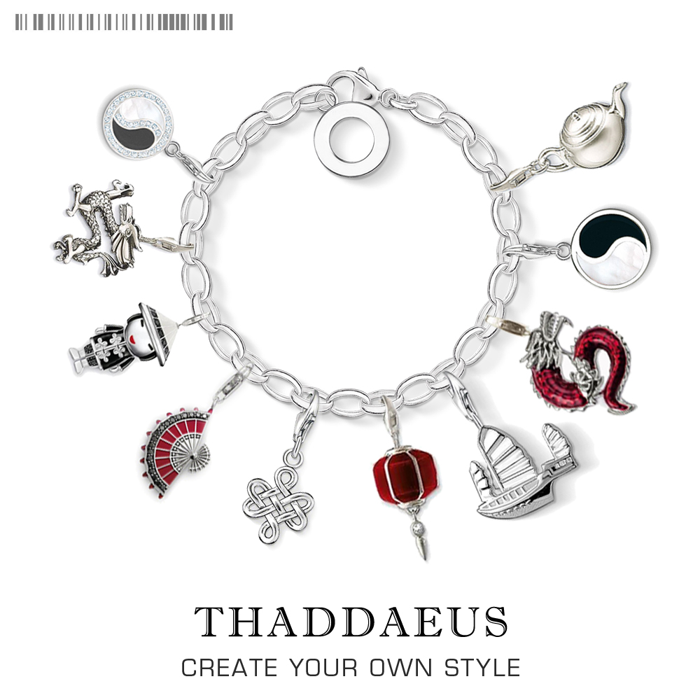 Chinese Symbol Pendant Charms European Style Fashion Charm Bracelet,925 Sterling Silver Small Fit Thomas Bracelets Necklace Club