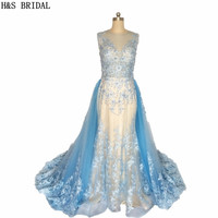 Real Picture Vestido De Noiva Casamento Sheer Neck Blue Wedding Dresses Beaded Pearls Lace Wedding Gown