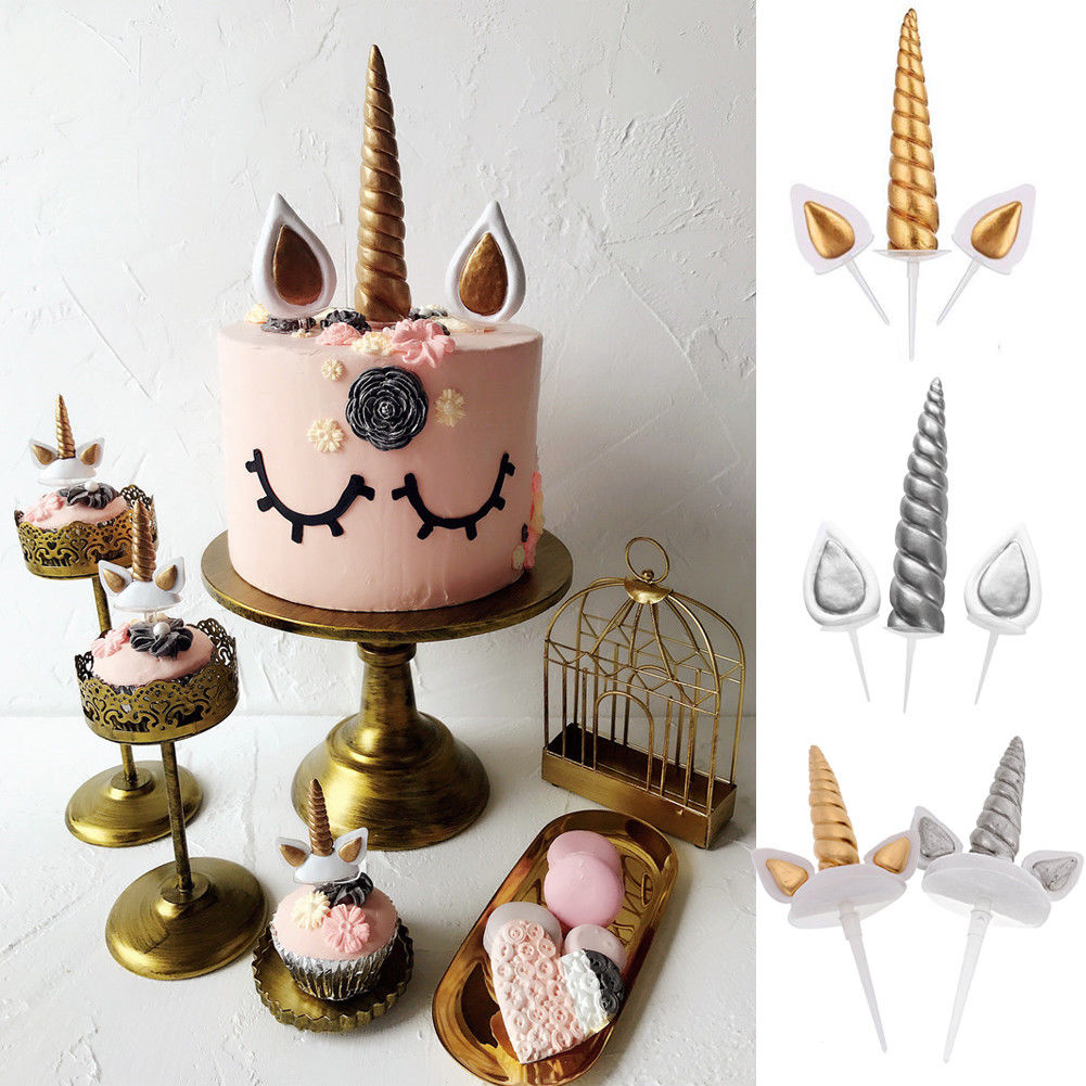 Birthday Cake Unicorn Topper Gold Horn /& Ear Set Party Supplies Decoration