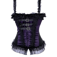 Gothic Corset,Burlesque Corsets,Women Red Blue Purple Black Sexy Overbust Bustier top with Straps,Punk Zipper Corselet