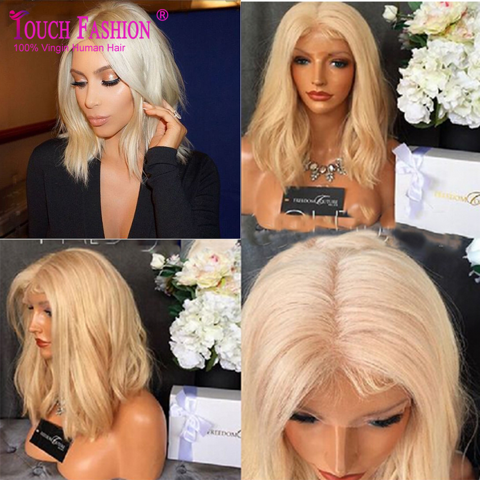 10A Sexy  613 Blonde Virgin Hair Lace Front Wig BOb Cut Wig Natural Wave  Full Lace Human Hair Summer Bob Wig For White Women 4962ef913c