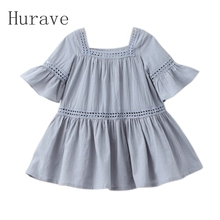 Hurave 2017 new fashion girls dress kids flare sleeve korean style embroidery clothing for children leisure