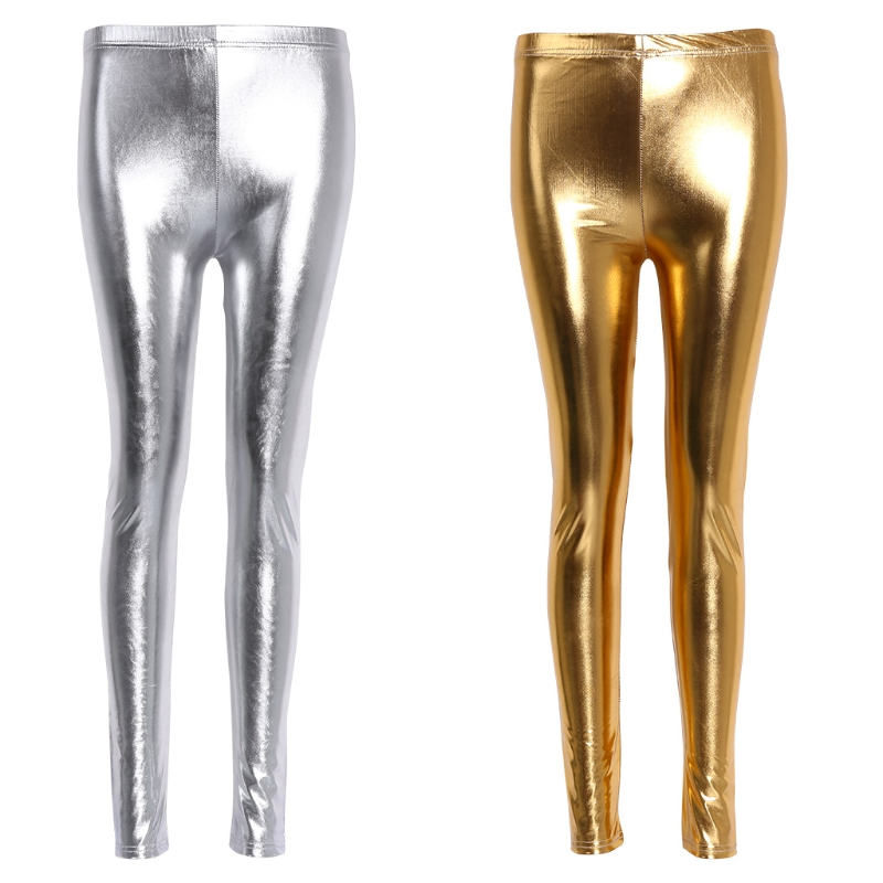 Women Shiny Silver Gold Leggings High-Waisted Faux Leather Stretch Pencil Pants