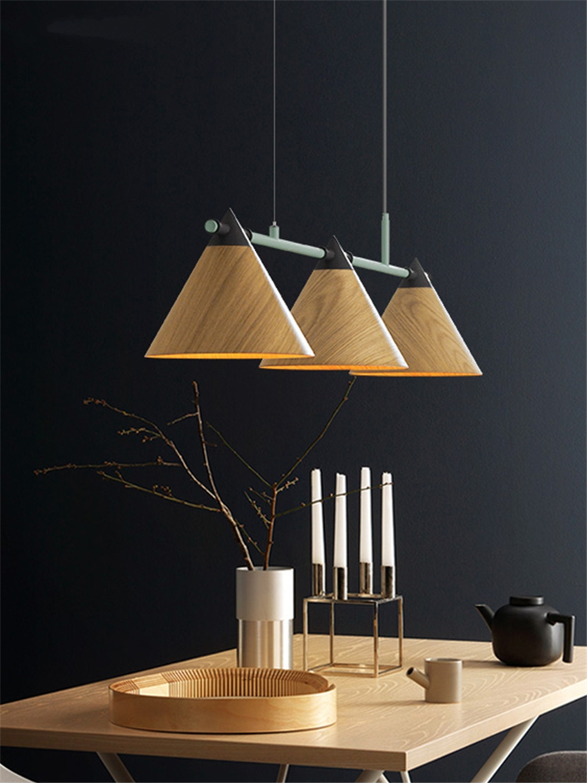 Us 301 7 30 Off Nordic Restaurant Wood 3 Heads Wooden Cone Pendant Lights Living Room Table Kitchen Modern Bar Lighting Hanging Lamps Fixtures In