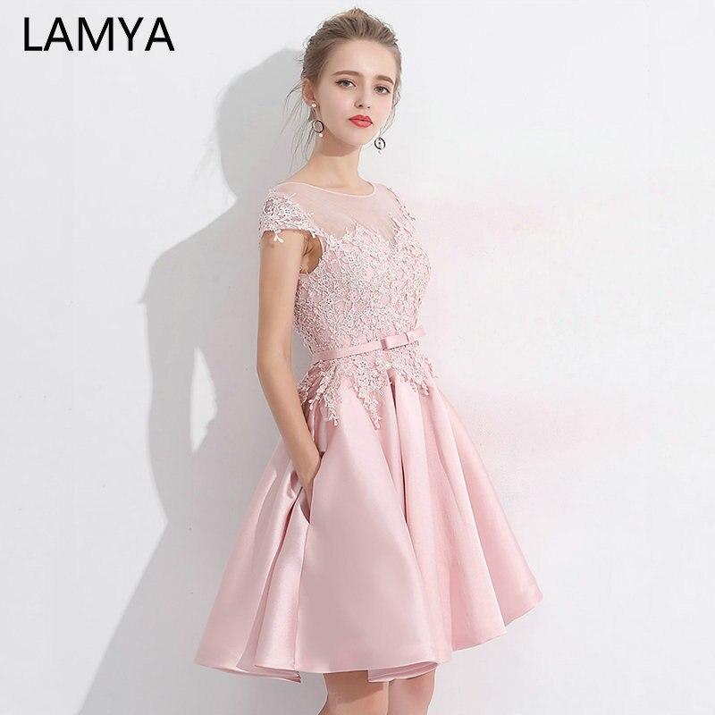LAMYA 2019 Pink Lace Satin Women Short Prom Dress Elegant Wedding Party Gowns Evening Dresses Vestido De Festa