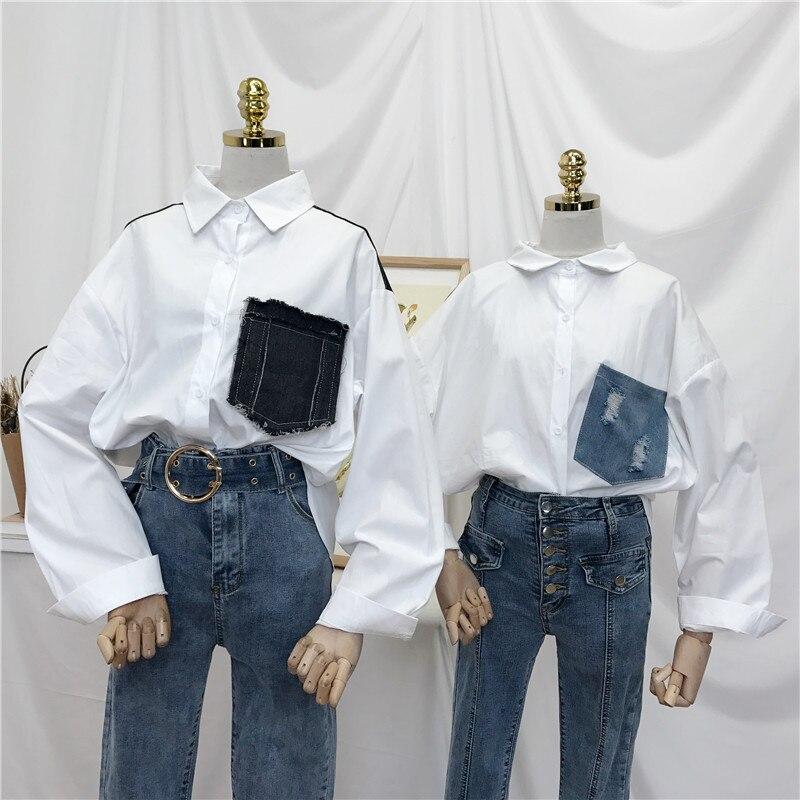 New Spring Korean Fashion Women Shirts Long Sleeve Striped Shirts Denim Stitching Loose Blouse Oversize Chic Ladies Tops Blusas