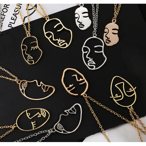 Fashion Statement Face Necklace For Women Jewelry Gold Silver Color Hollow Out Face Long Pendant Chokers Nacklaces(China)