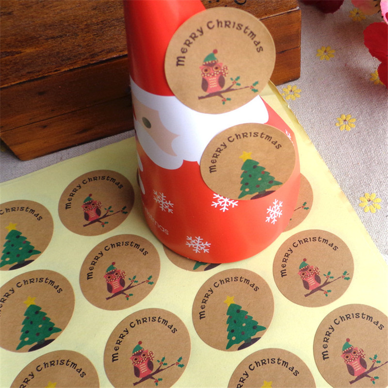 120pcs Free Shipping Super Stickers Merry Christmas Tree Owl Handmade Packaging Label Kraft Sticker DIY Adhesive Gift Sticker