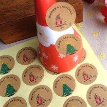ФОТО 60pcs free shipping super stickers merry christmas tree owl handmade packaging label kraft sticker diy adhesive gift sticker