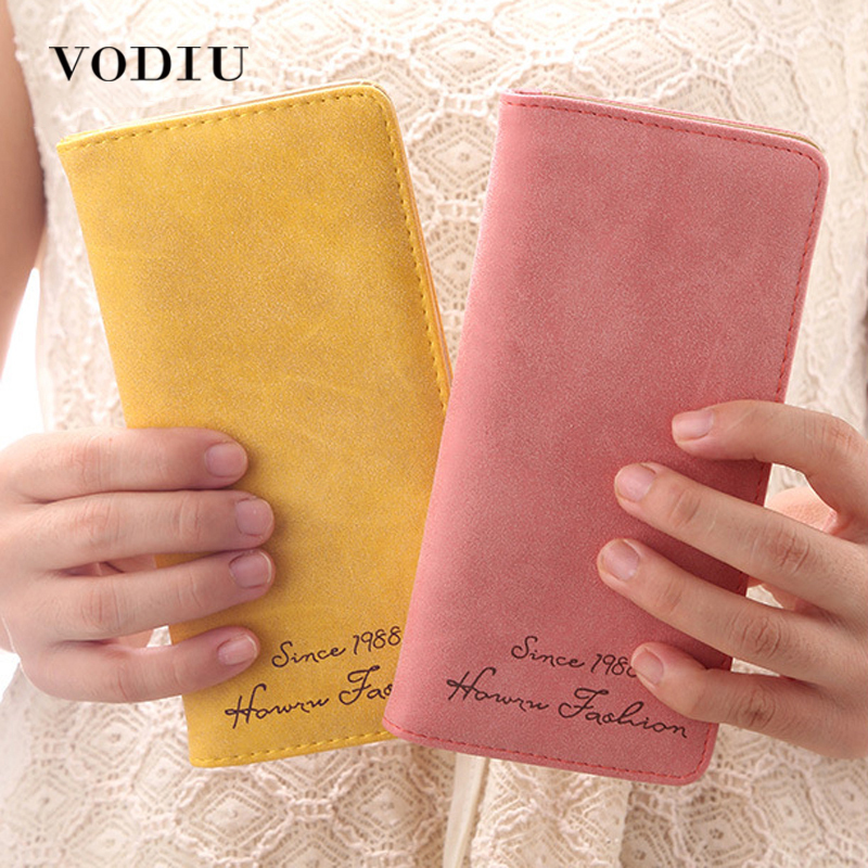 Minimalist Designer Slim Long Bifold Women Wallet Female Clutch Leather Brand Coin Purse Ladies Card Holder Money Dollar Cuzdan