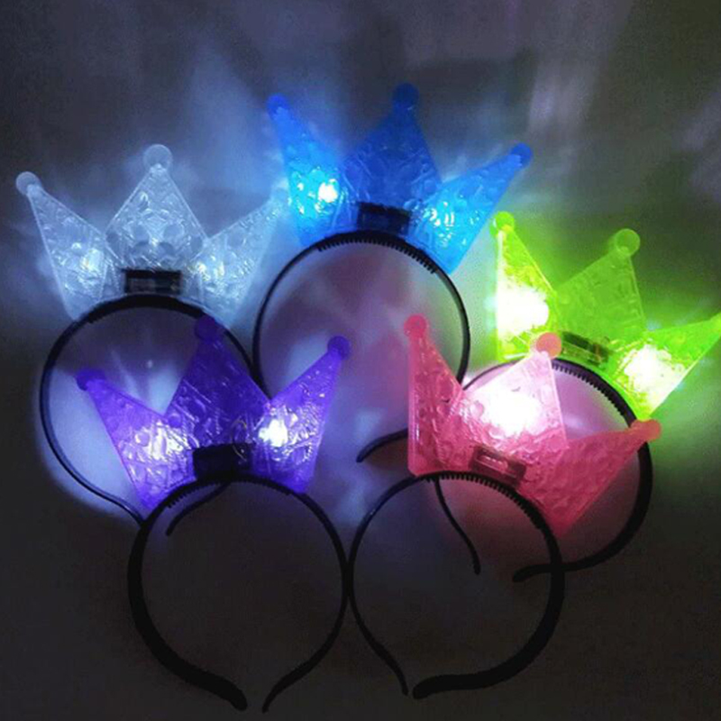 Halloween Decor LED Flashing Glow Headband Women Girls Crown Light Up Hairbands Hair Accessories Glow Party