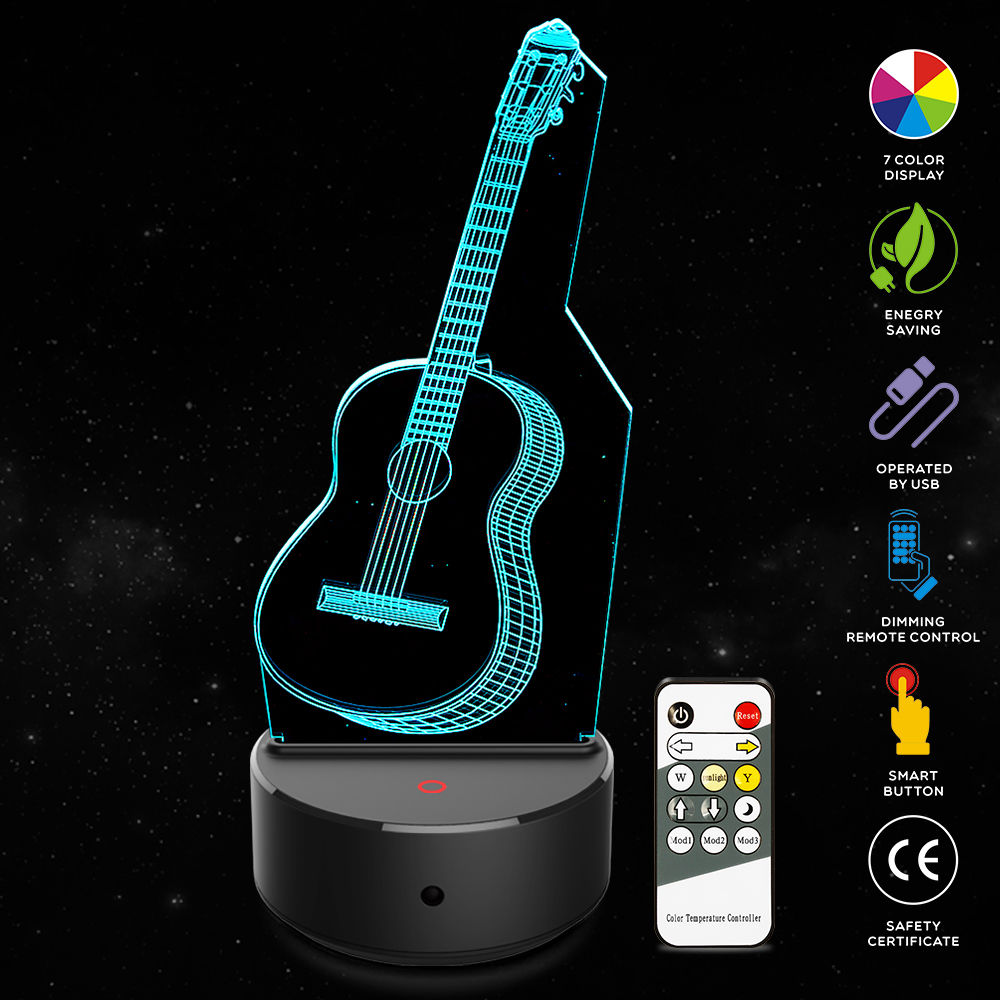 New music guitar style 3D LED Night Light illusion Novelty Table Desk Lamp Birthday Christmas Gift for Child Kids Home Decor novelty 3d minions night light led table lamp touch desk lighting colorful for child baby gift birthday party bedroom home decor