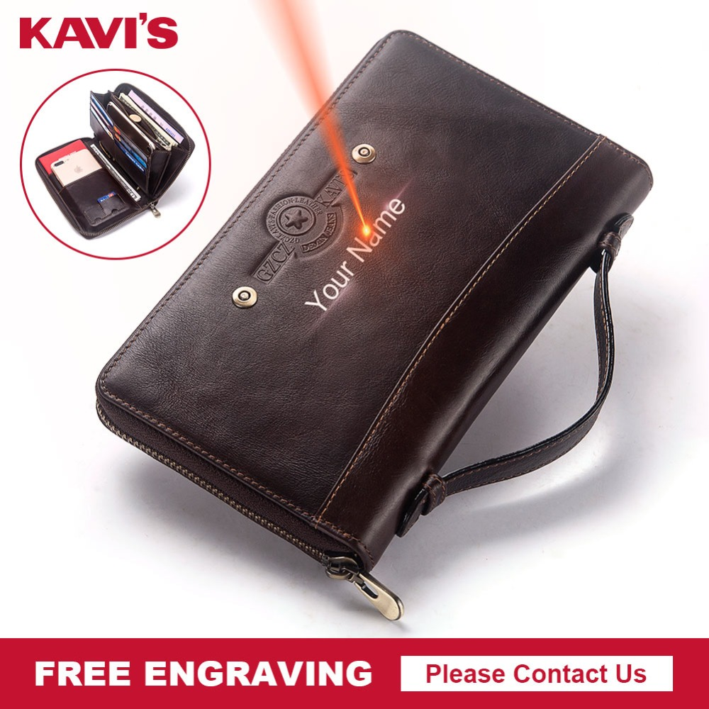KAVIS Free Engraving Large Capacity Genuine Leather Long Wallet Men Coin Purse Clutch Walet Portomonee PORTFOLIO Handy Phone Bag