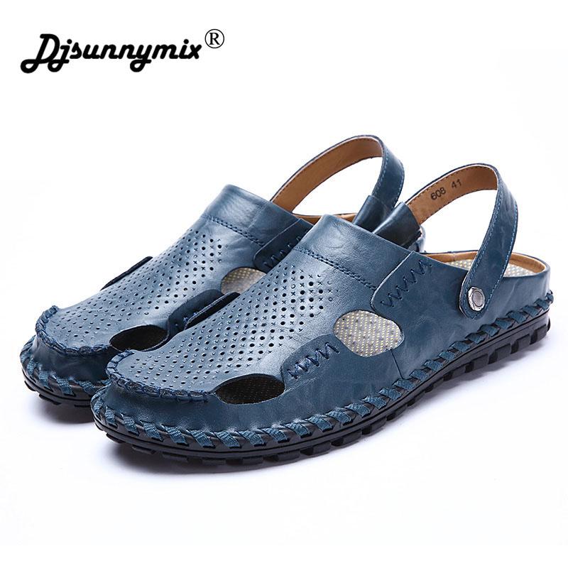 DJSUNNYMIX Mens Sandals Genuine Leather Summer Slipper 2018 New Beach Men Casual Shoes