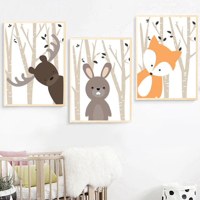 Cartoon Forest Deer Rabbit Fox Nordic Posters Wall Art  1