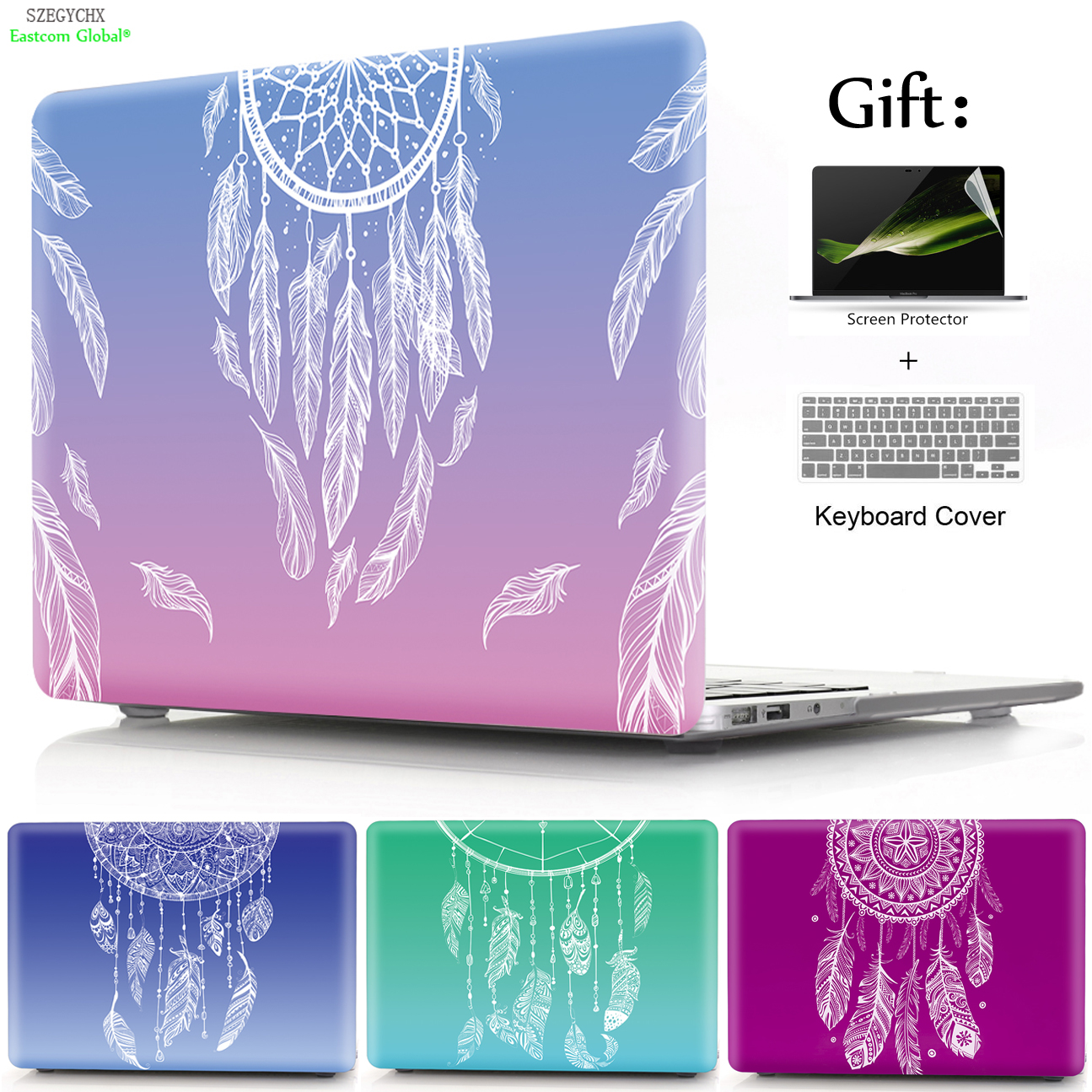 SZEGYCHX Dream Feather Pattern Laptop Shell Hard Case Cover For Macbook Air Pro Retina 11 12 13 15 13.3 inch with Touch Bar ...