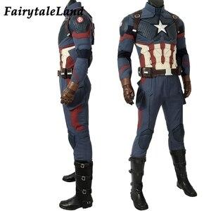 Image 2 - Avengers Endgame Captain America Cosplay costume full set Outfit Captain America Steve Rogers Jumpsuit customized 5 star Vest